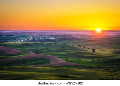 Beautiful sunset and yellow sky in the Palouse region of eastern Washington state