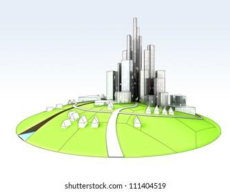 beautiful super modern sustainable city development unit cityscape hand drawn illustration