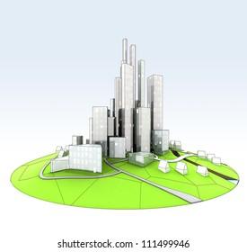 beautiful super modern sustainable city view development unit cityscape hand drawn illustration