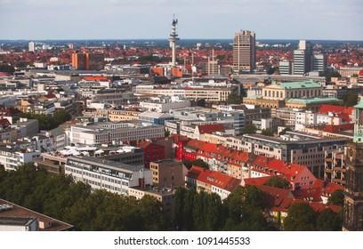 Beautiful super wide-angle summer aerial view of Hannover, Germany, Lower Saxony, seen from observation deck of New Town Hall, Hanover