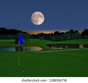 A beautiful supermoon rising over a country golf course.