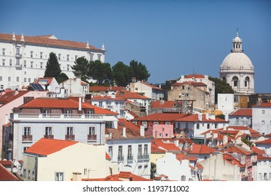 Beautiful super-wide angle aerial panoramic view of Lisbon, Portugal, with Alfama district and historical old town, seen from the observation deck