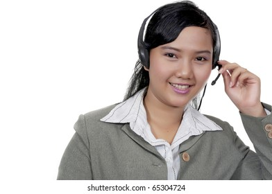 Beautiful support phone operator with headset, isolated on white