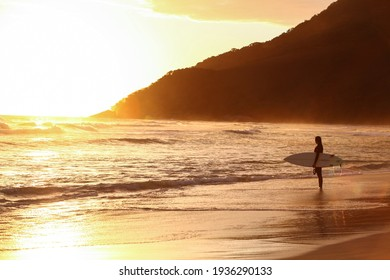 Beautiful surfer woman with surfboard in Brazilian beach at sunset