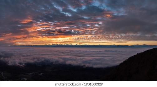 Beautiful surnrise panorama with powerful colors, La tourne, Neuchâtel, Switzerland