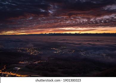 Beautiful surnrise with powerful colors, La tourne, Neuchâtel, Switzerland