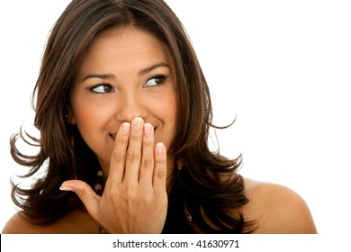 Beautiful surprised woman isolated over a white background