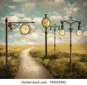 Beautiful surreal landscape with different clocks
