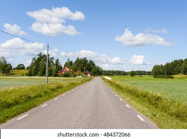 Beautiful Swedish road in on a summer day