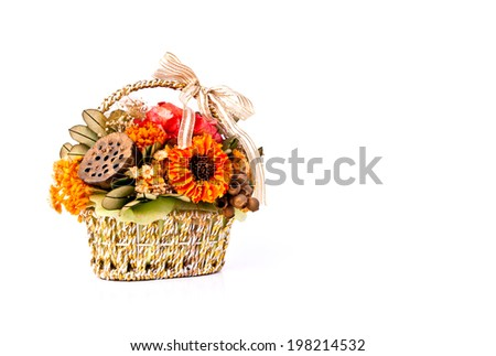 Beautiful Sweet Bouquet Flower Gold Basket Stock Photo Edit Now