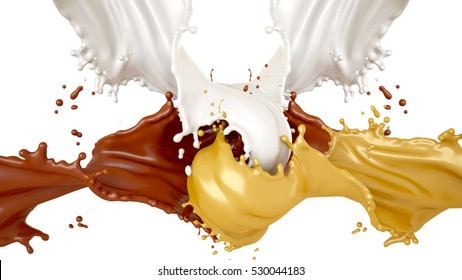 Beautiful, sweet, tasty background splashes of chocolate, milk and honey. 3d illustration, 3d rendering.