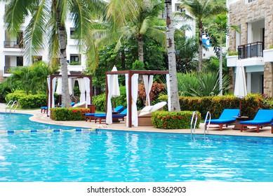 beautiful swimming pool at an Asian resort