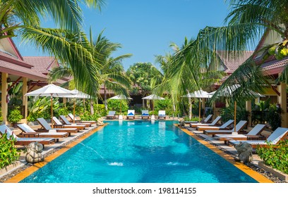 beautiful swimming pool in tropical resort , Phuket, Thailand.