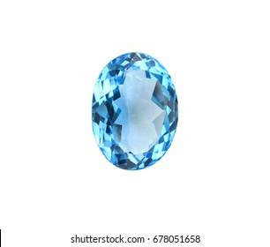 Beautiful swiss blue topaz,gemstone,isolated on white