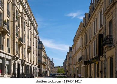Beautiful, symmetric architecture in Rue Thiers, Reims, Champagne, France