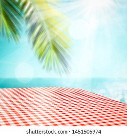 Beautiful table background at the sunny sandy sea shore