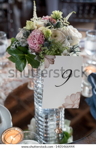 Beautiful Table Centerpieces Wedding Reception Table Stock Photo Edit Now 1405466444