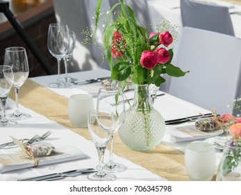 Beautiful table decoration on the wedding in a luxury restraurant