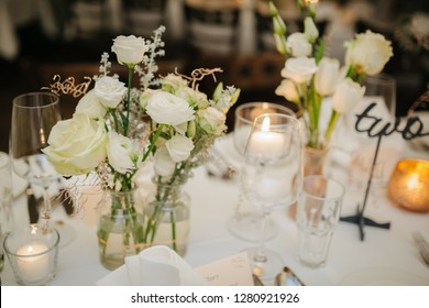 Beautiful table decorations at a wedding
