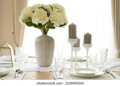 Beautiful table dinning set decorated for various festive event.