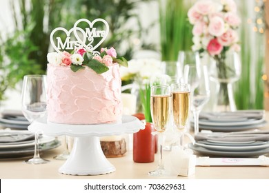 Beautiful table served for lesbian wedding