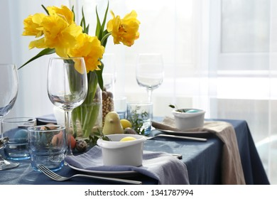 Beautiful table set for Easter celebration
