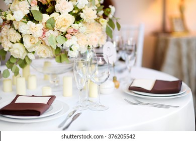 Beautiful table set for some festive event, party or wedding reception