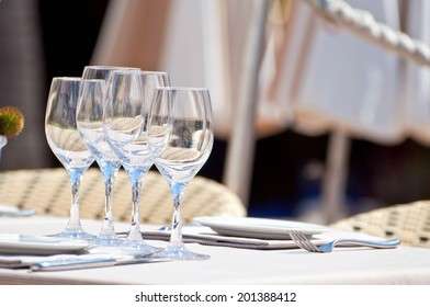 Beautiful table setting in a beach restaurant