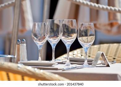 Beautiful table setting in a beach restaurant