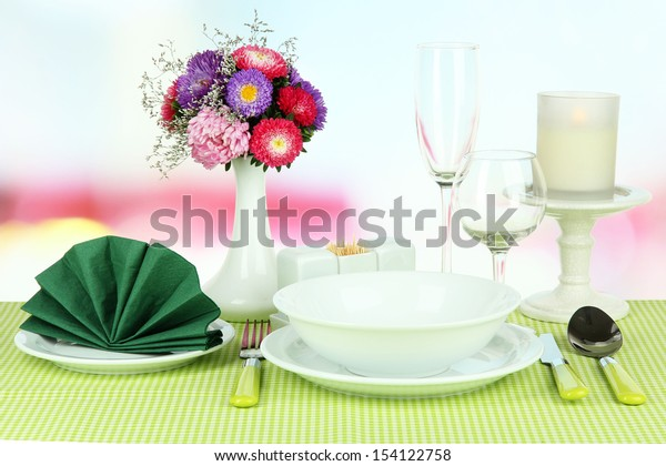 Beautiful table setting for breakfast