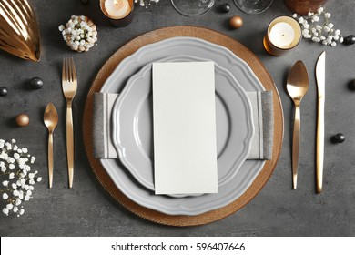 Beautiful table setting on grey background & Table-setting Images Stock Photos \u0026 Vectors | Shutterstock