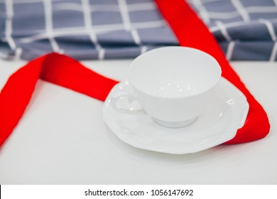 Beautiful table setting on a white background