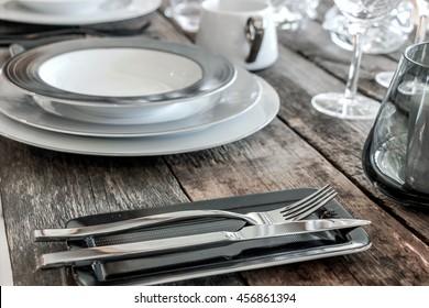 beautiful tableware on wood table