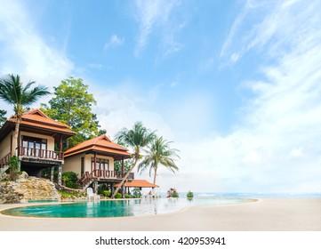 Beautiful Tai bungalow with a swimming pool. Phangan, Thailand.