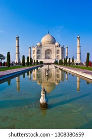beautiful Taj Mahal in India with blue sky