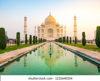 Beautiful Taj Mahal in sunrise light with reflection, Agra, India