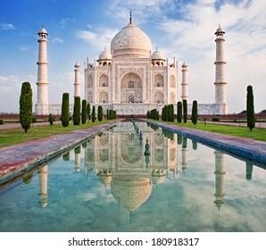 Beautiful Taj Mahal in sunrise light, Agra, India