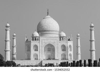 The beautiful Tajmahal of Agra, India in black and white monochrome