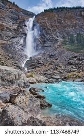The beautiful Takakkaw falls in Yoho Canada.