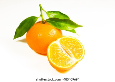 beautiful tangerine on a white background