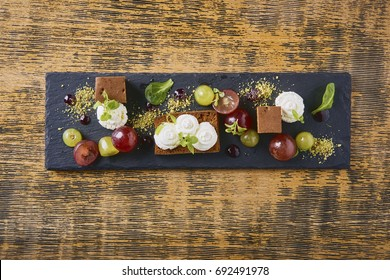 Beautiful and tasty food on a wooden desk