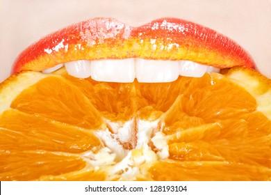 Beautiful and tasty orange lips