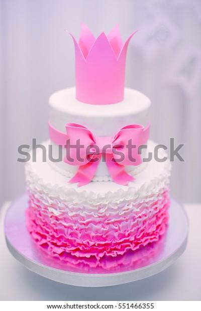 Admirable Beautiful Tasty Stylish Twotier Pink White Stock Photo Edit Now Personalised Birthday Cards Akebfashionlily Jamesorg