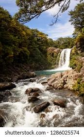 Beautiful Tawhai Falls waterfall in New Zealand