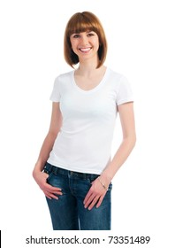 Beautiful teen in a blank white t-shirt for you to add your own text or design