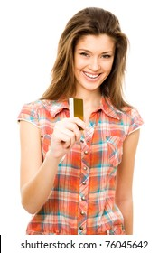Beautiful teen girl with blank credit card