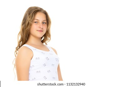 Beautiful teen girl close-up on white background. The concept of youth culture, education and school. Isolated.