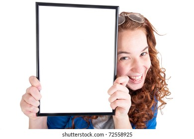Beautiful teen girl show a table on white background