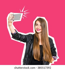 Beautiful teenage girl in black leather jacket, with long blonde hair, smiling, posing, taking a selfie on smartphone. Concept minimalist design cut out photo, square format, retouched, vibrant colors