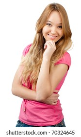 beautiful teenage girl smiling and looking into the camera, hand under her chin. Isolated on white background